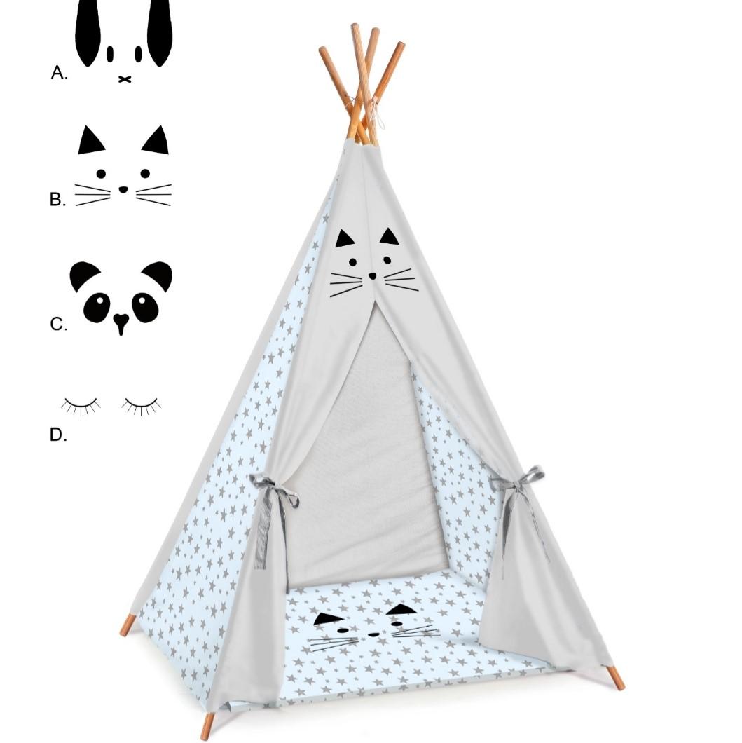 אוהל טיפי לחדר ילדים דגם תכלת מיפי