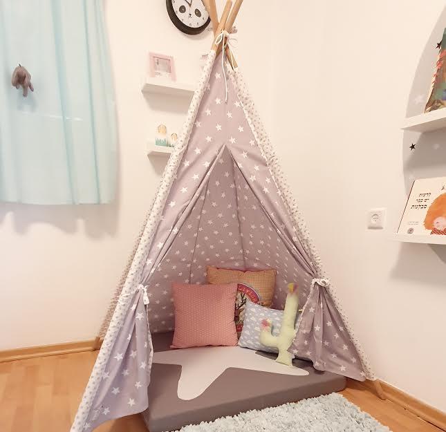 אוהל טיפי אפור כוכבים