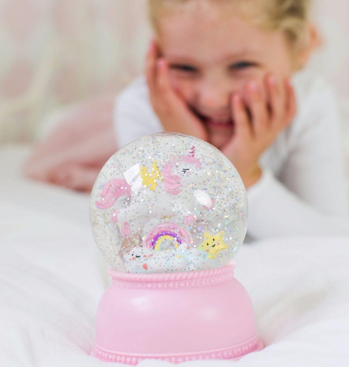 מנורת לילה לחדר ילדים כדור שלג חד קרן