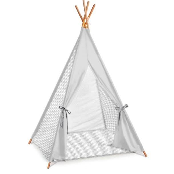 אוהל טיפי לחדר ילדים דגם אפור זיג זג