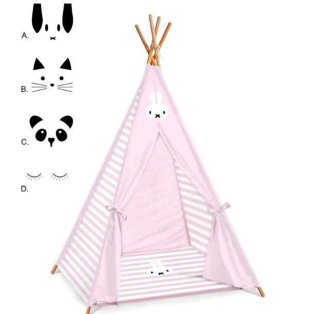 אוהל טיפי לחדר ילדים דגם ורוד מיפי
