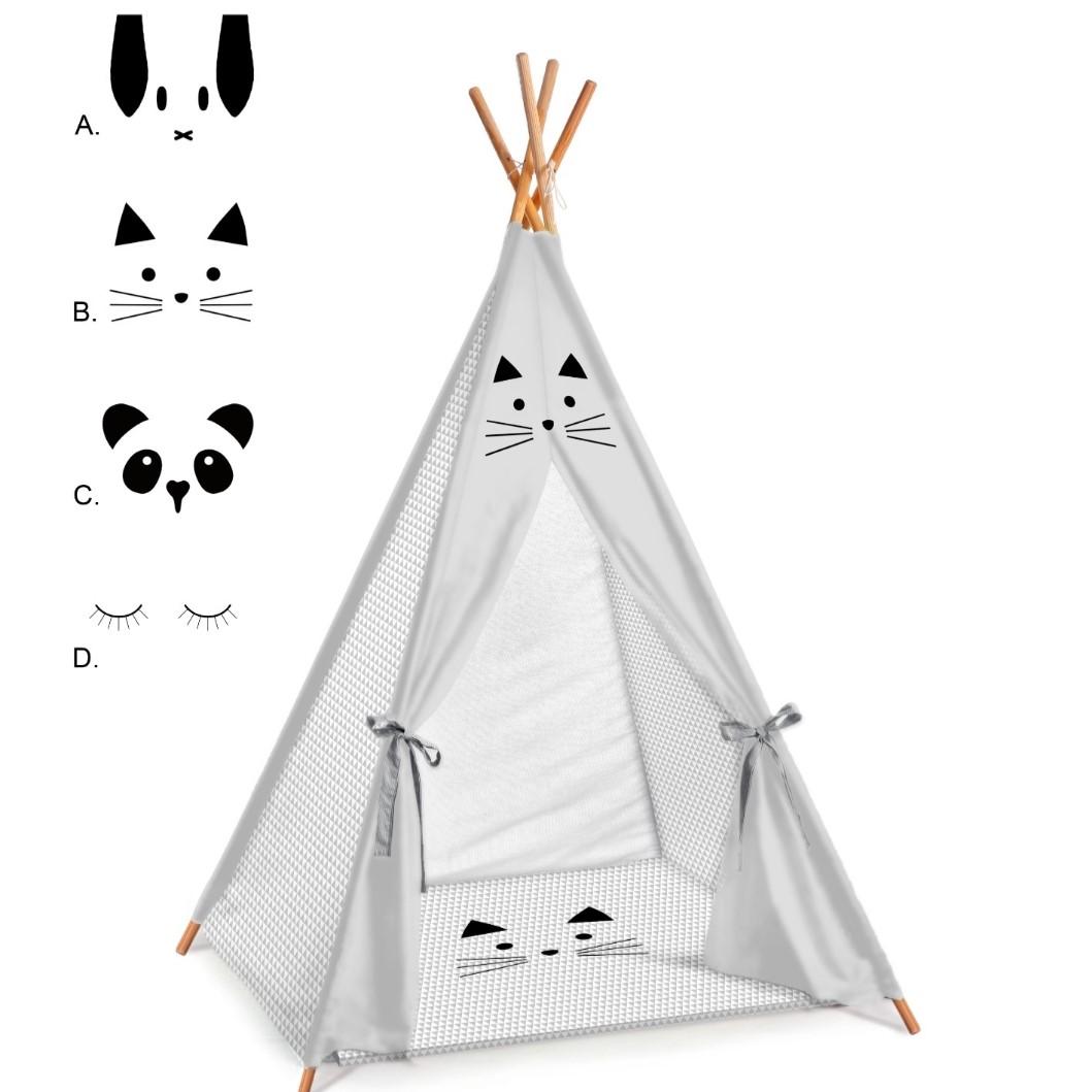 אוהל טיפי לחדרי ילדים דגם ואפור משולשים אפורים