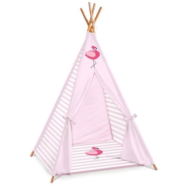 אוהל טיפי לחדרי ילדים דגם ורוד פסים פלמינגו