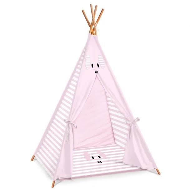 אוהל טיפי לחדר ילדים דגם ורוד פסים ארנב