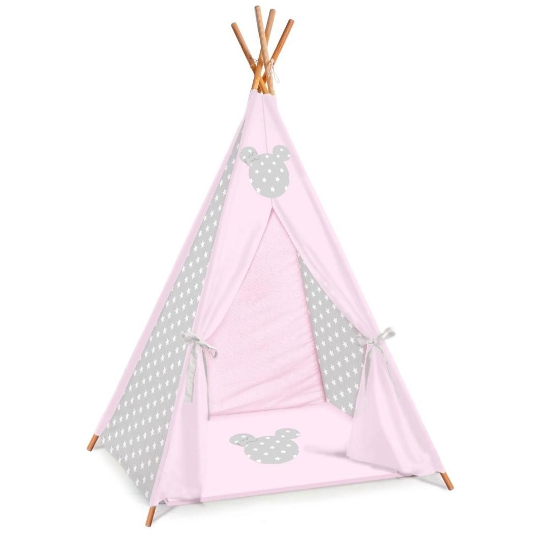 אוהל טיפי לחדרי ילדים דגם ורוד ואפור כוכבים