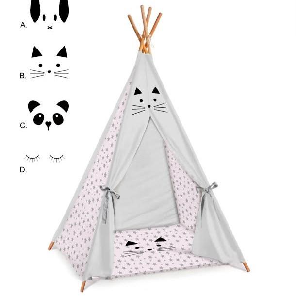 אוהל טיפי לחדר ילדים דגם ורוד כוכבים אפורים