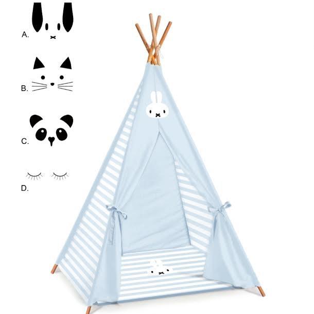 אוהל טיפי לחדר ילדים דגם תכלת פסים מיפי בלבן