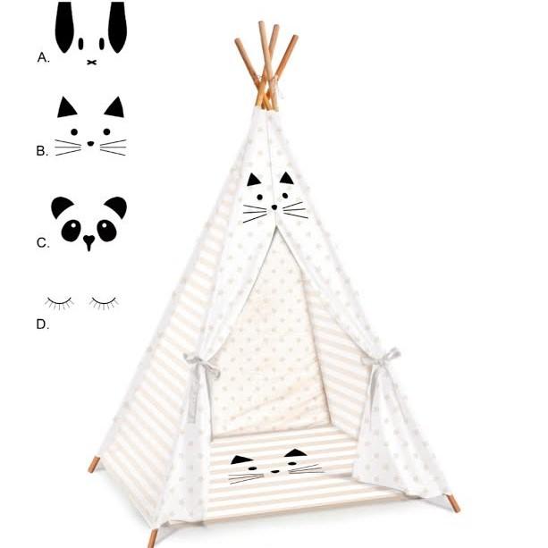 אוהל טיפי לחדר ילדים דגם פסים מוקה