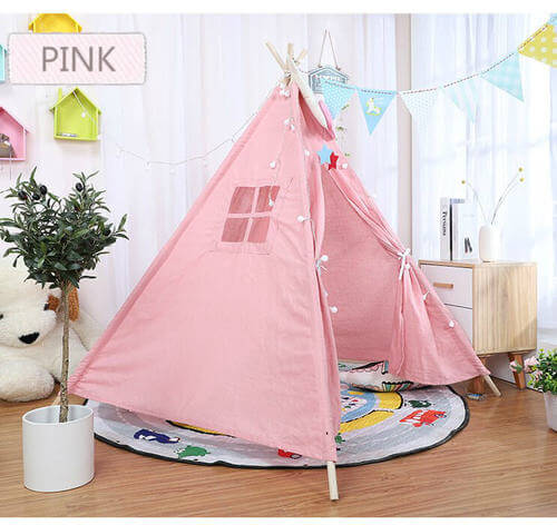 אוהל טיפי לחדר ילדות ורוד