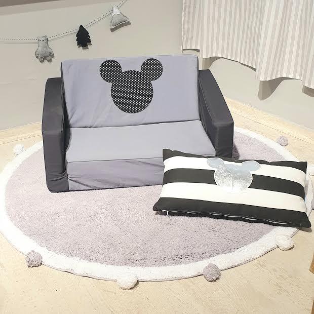 ספה לילדים שחור אפור דגם מיקי