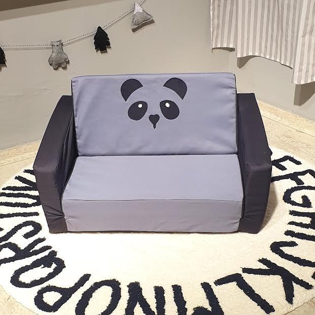 ספה לילדים דגם פנדה אפור שחור