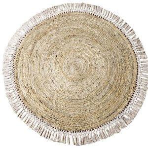 שטיח עגול קש עם פרנזים שקד
