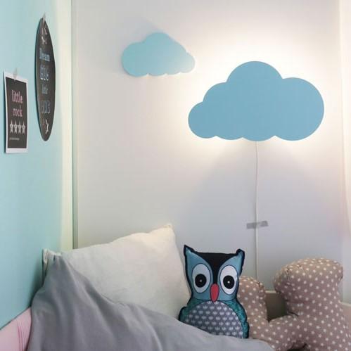 מנורת לילה לחדר ילדים דגם עננים תכלת