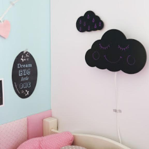 מנורת לילה לחדרי ילדים דגם עננים גיר