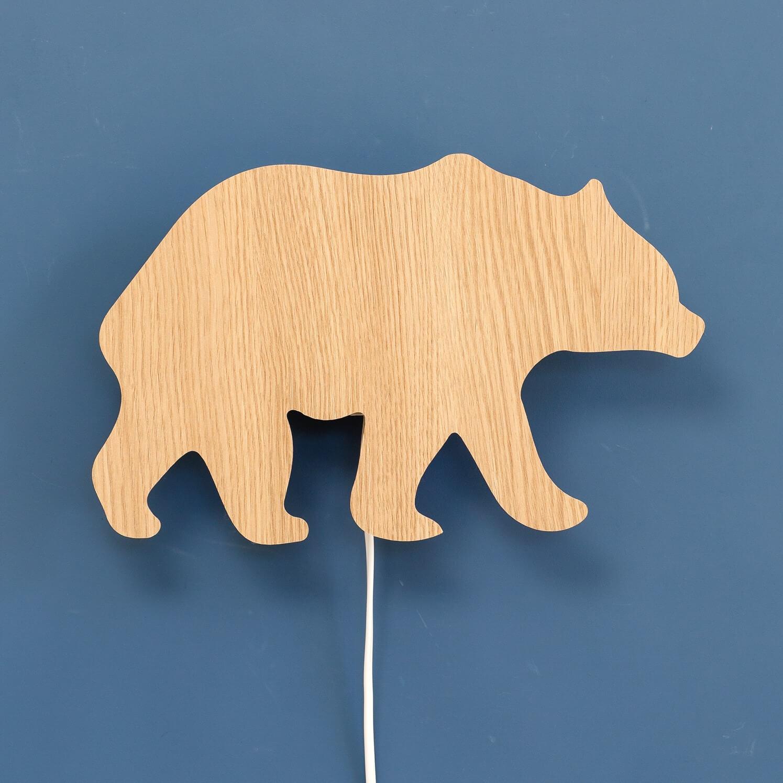 מנורת לילה לחדר ילדים דגם דוב בגוון עץ