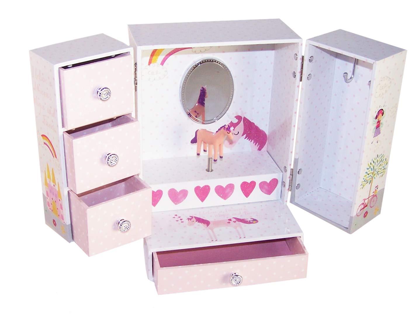קופסת תכשיטים לילדה גדולה דגם חד קרן