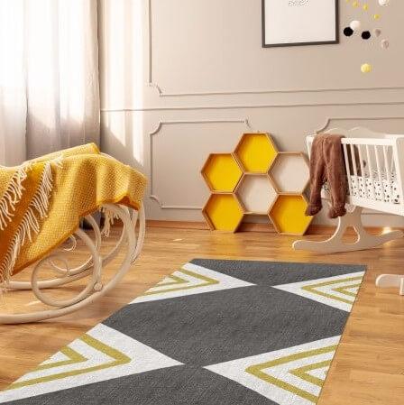 שטיח אפור וחרדל