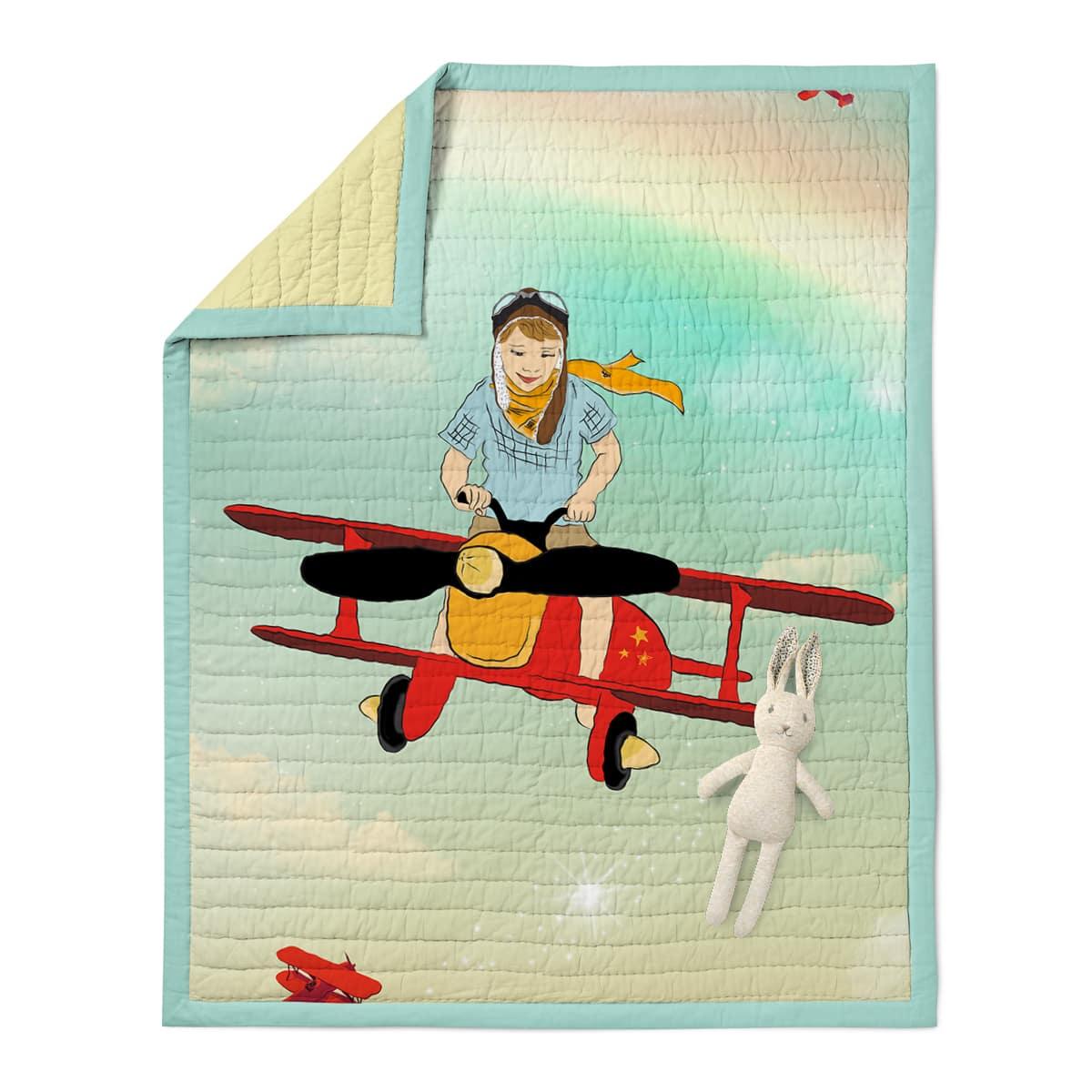 שמיכה לתינוק דגם מטוס נדב