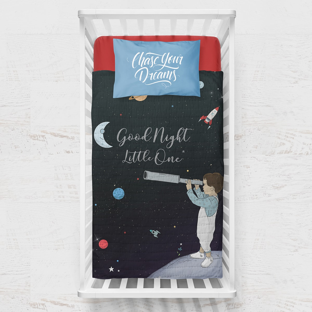 שמיכה לתינוק דגם חלל