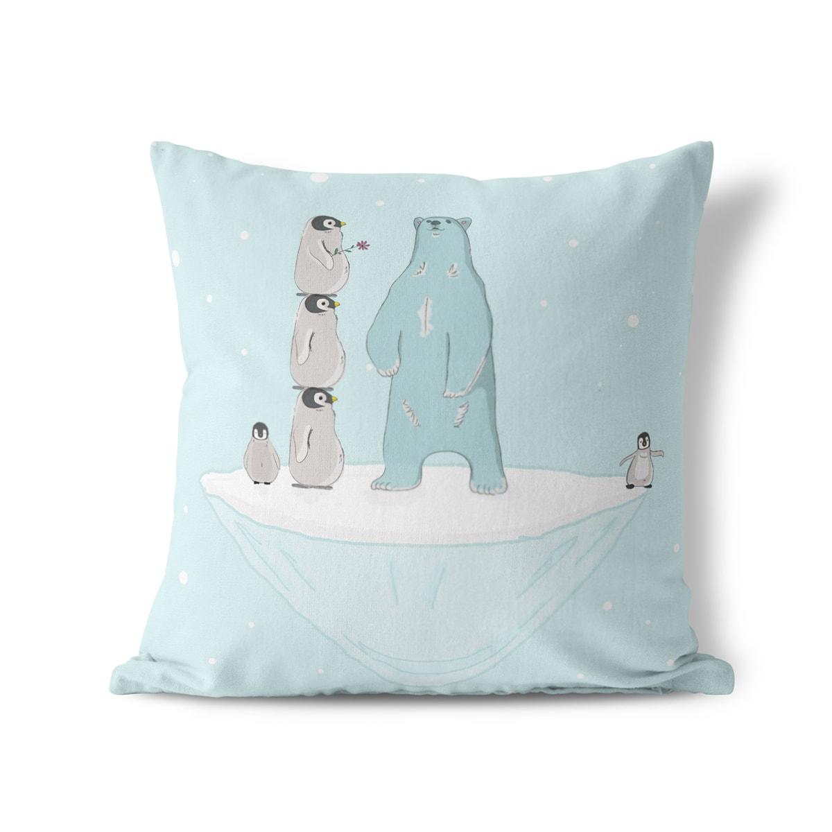 כרית נוי לחדר ילדים דגם דו ופינגווין - תמונה 1
