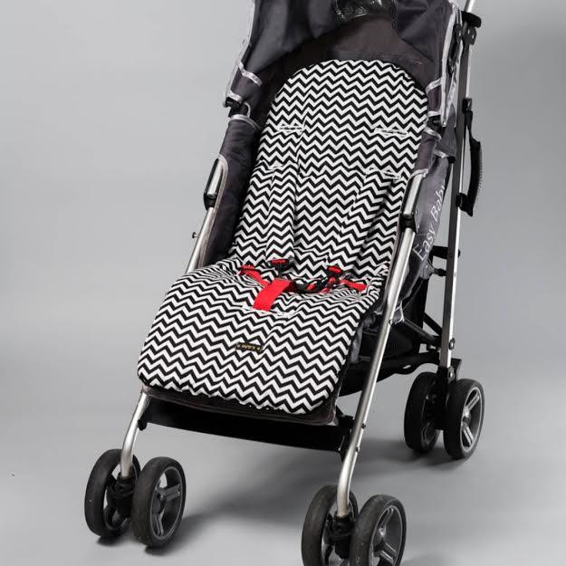 ריפודית לעגלת תינוק שחור זיג זג