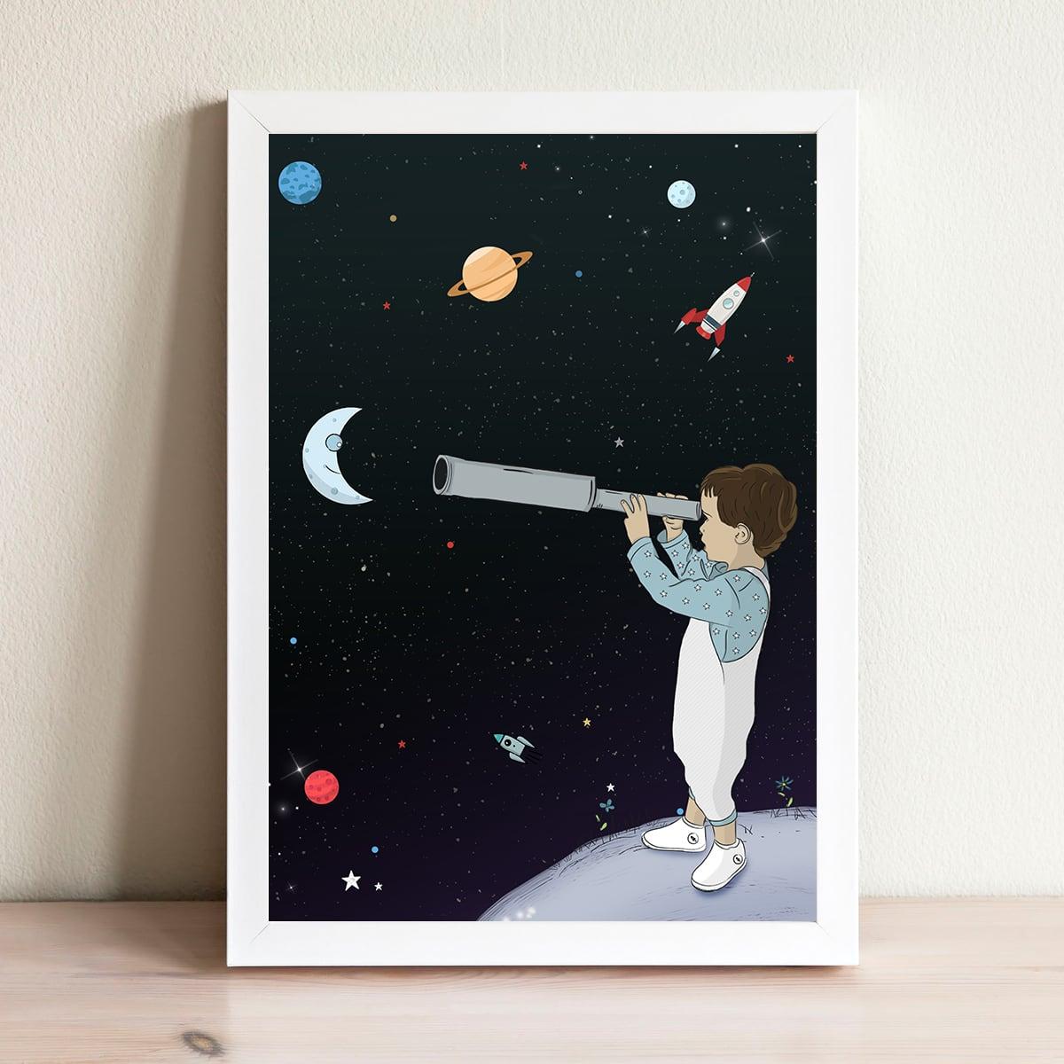 תמונה לחדר ילדים דגם חלל