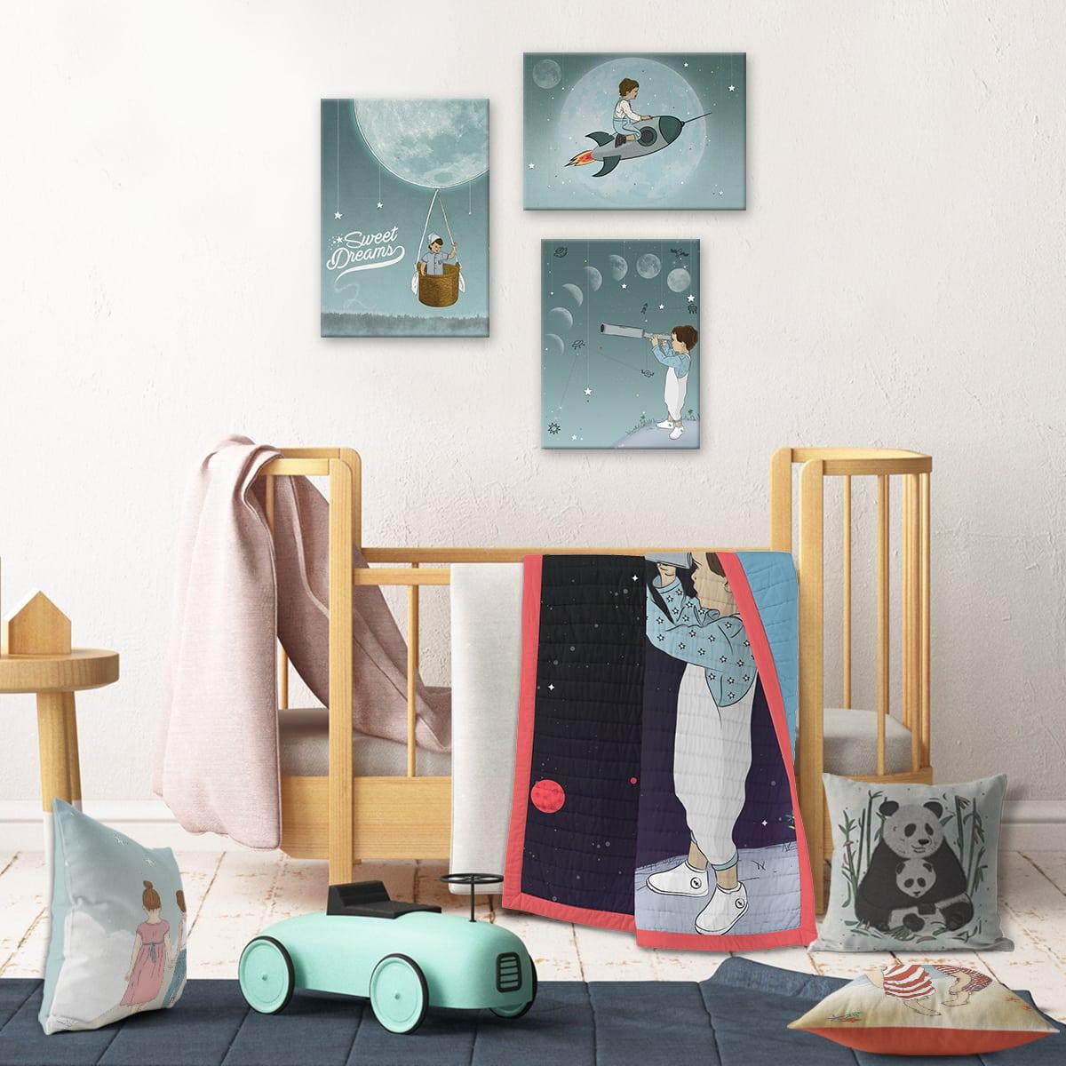 תמונה לחדרי ילדים דגם TO THE MOON &BACK