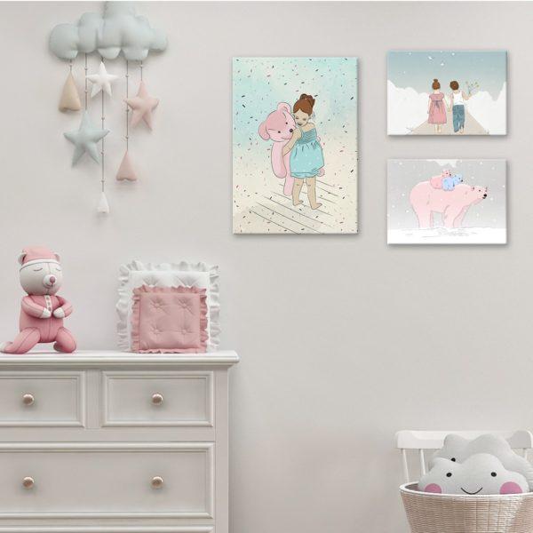 תמונה לחדרי ילדים דב וילדה ביער