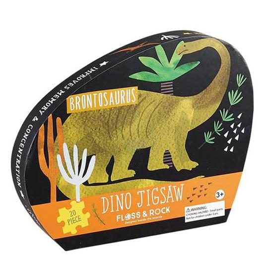 פאזל דינוזאורים בקופסא מעוצבת עם עיטורים כסופים 20 חלקים