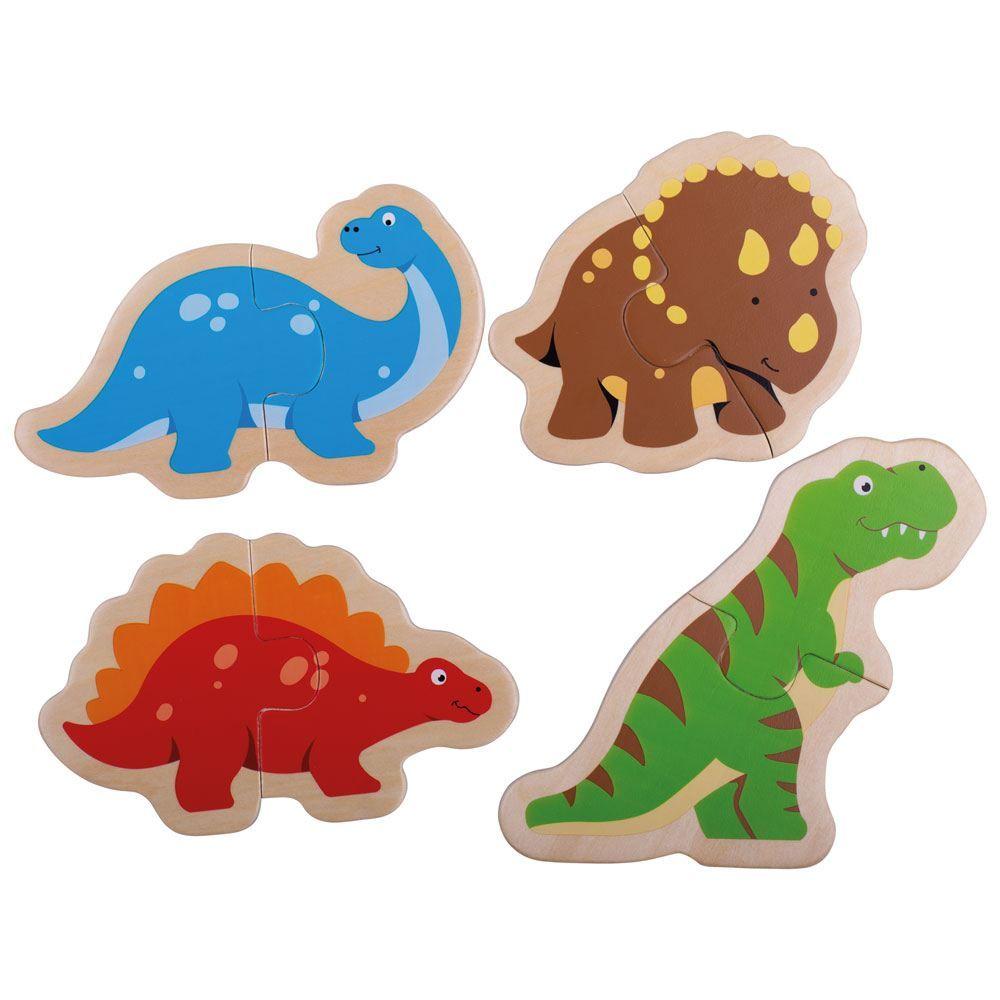 4 פאזלים של 2 חלקים - דינוזאורים