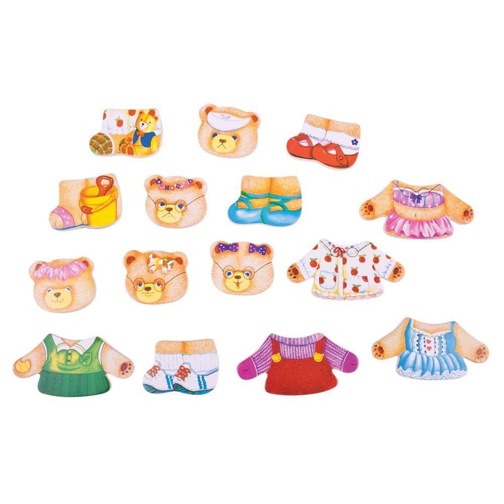 משחק הלבשה מעץ - משפחת דובים