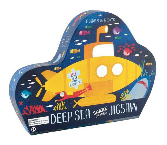 פאזל צוללת מתחת לים מעוצב בקופסא מעוצבת עם עיטורים כסופים 80 חלקים