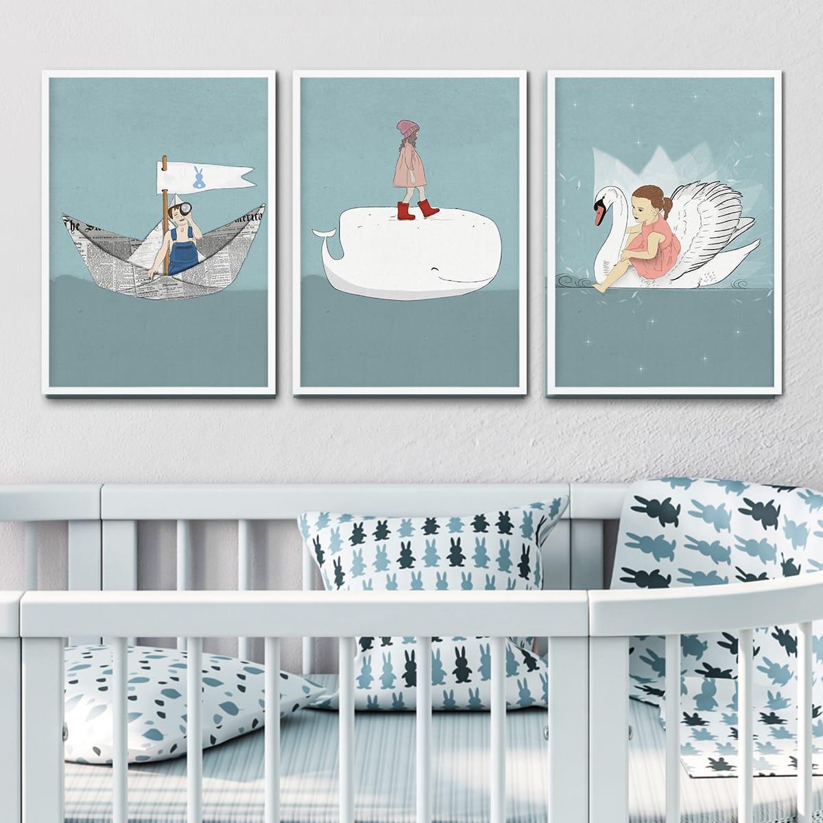 תמונה לחדרי ילדים שטים בים