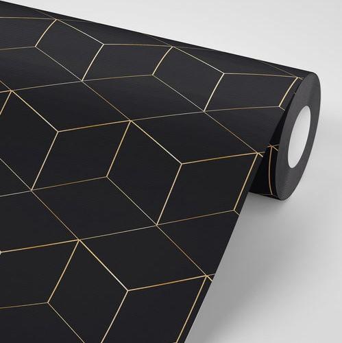 טפט לקיר דגם גאומטרי שחור זהב