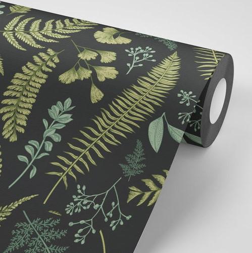 טפט שחור עם עלים ירוקים