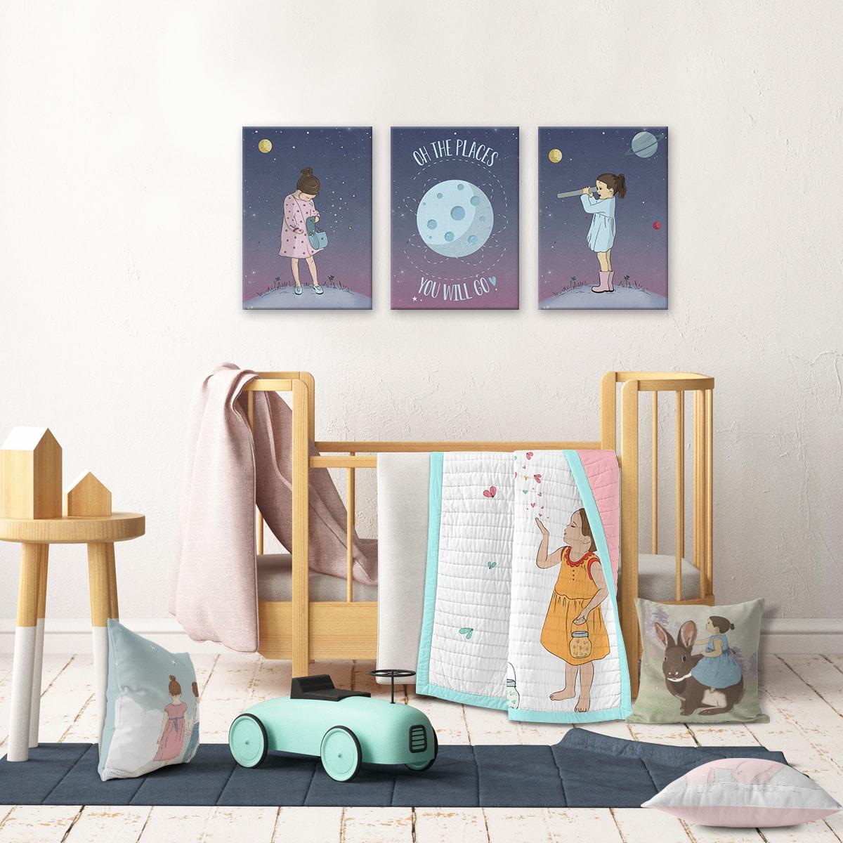 תמונה לחדר ילדים ילדה חוקרת חלל ורוד