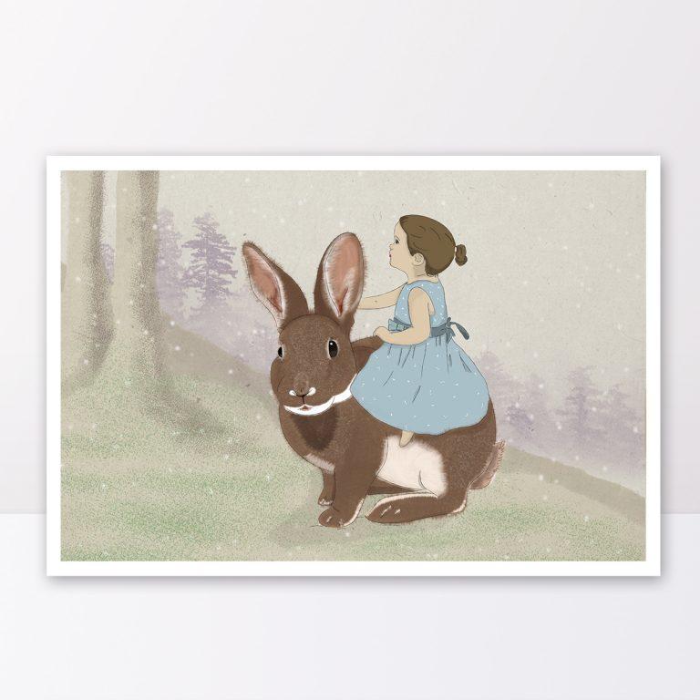 תמונה לחדר ילידם של ילדה על ארנב
