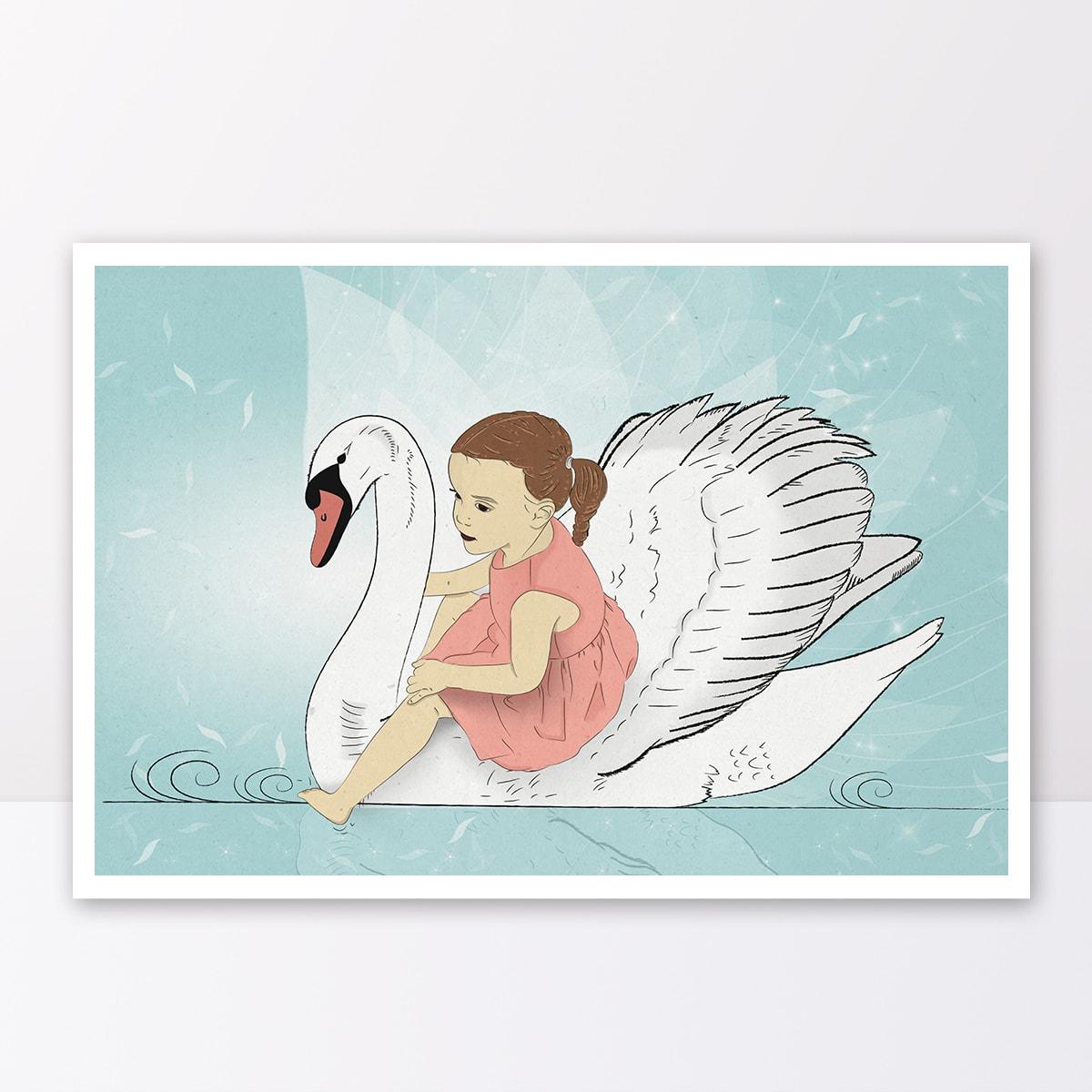 תמונה לחדר ילדים ילדה מפליגה על ברבור