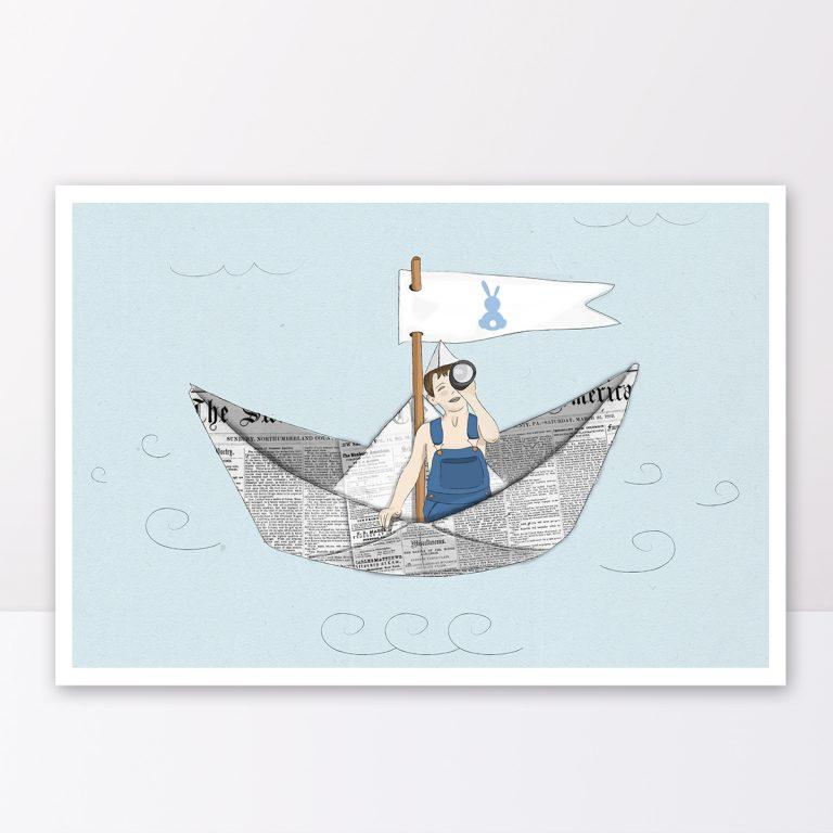 תמונה לחדר ילדים ילד מפליג בסירת אוריגמי