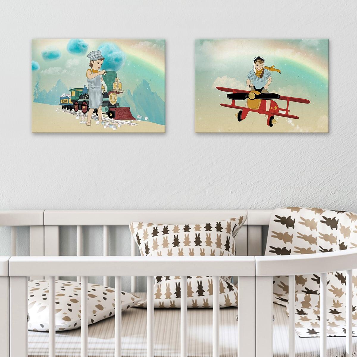 תמונה לחדר ילדים- ילד מטיס מטוס