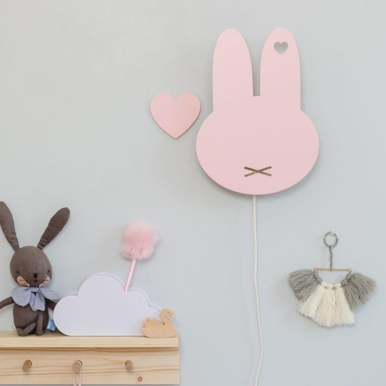 מנורת לילה צמודת קיר ארנב מיפי ורוד