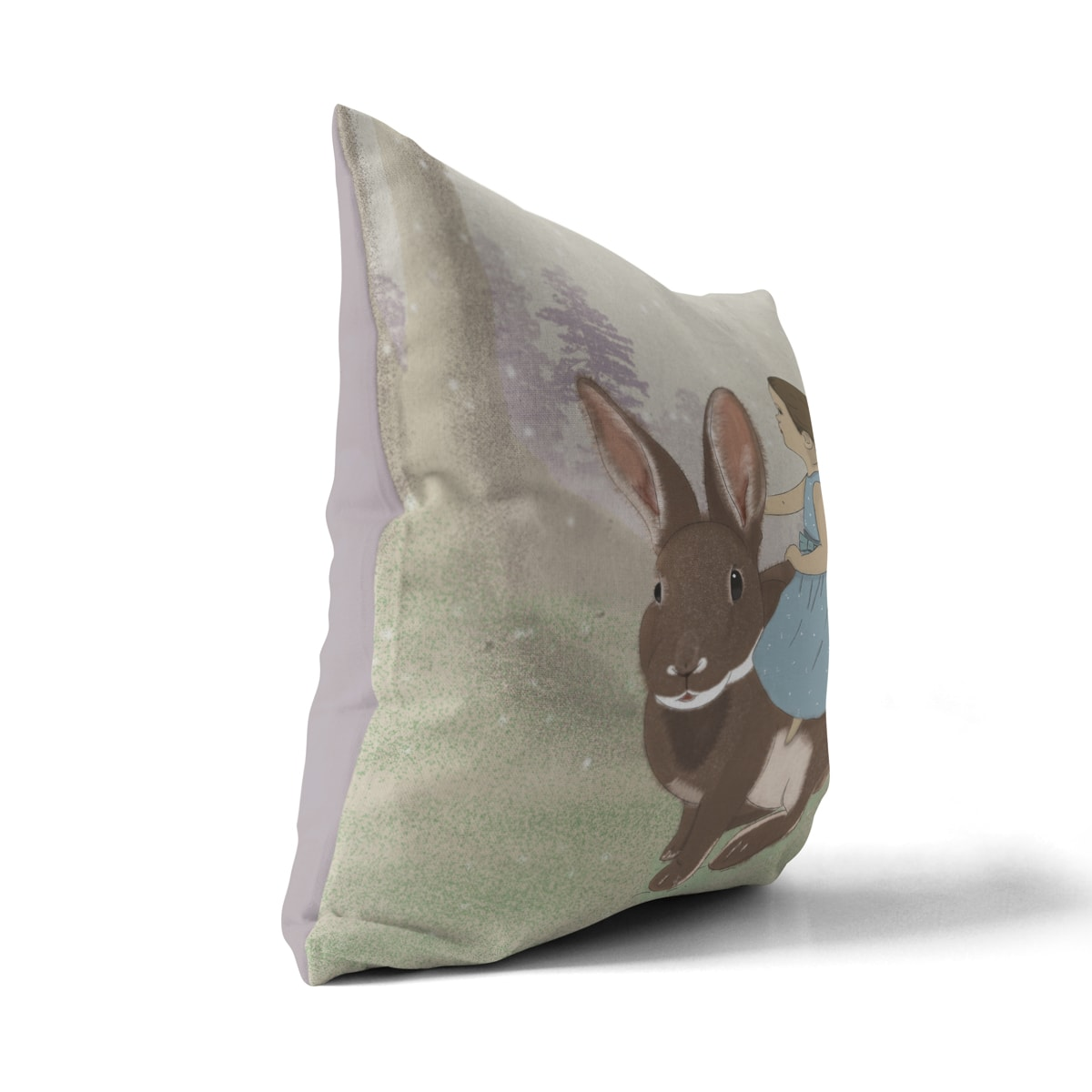 כרית נוי לחדר ילדים ילדה על ארנב