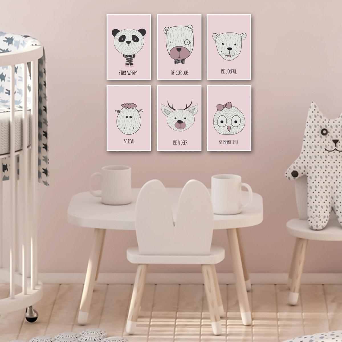 סט תמונות לחדר ילדים רקע ורוד