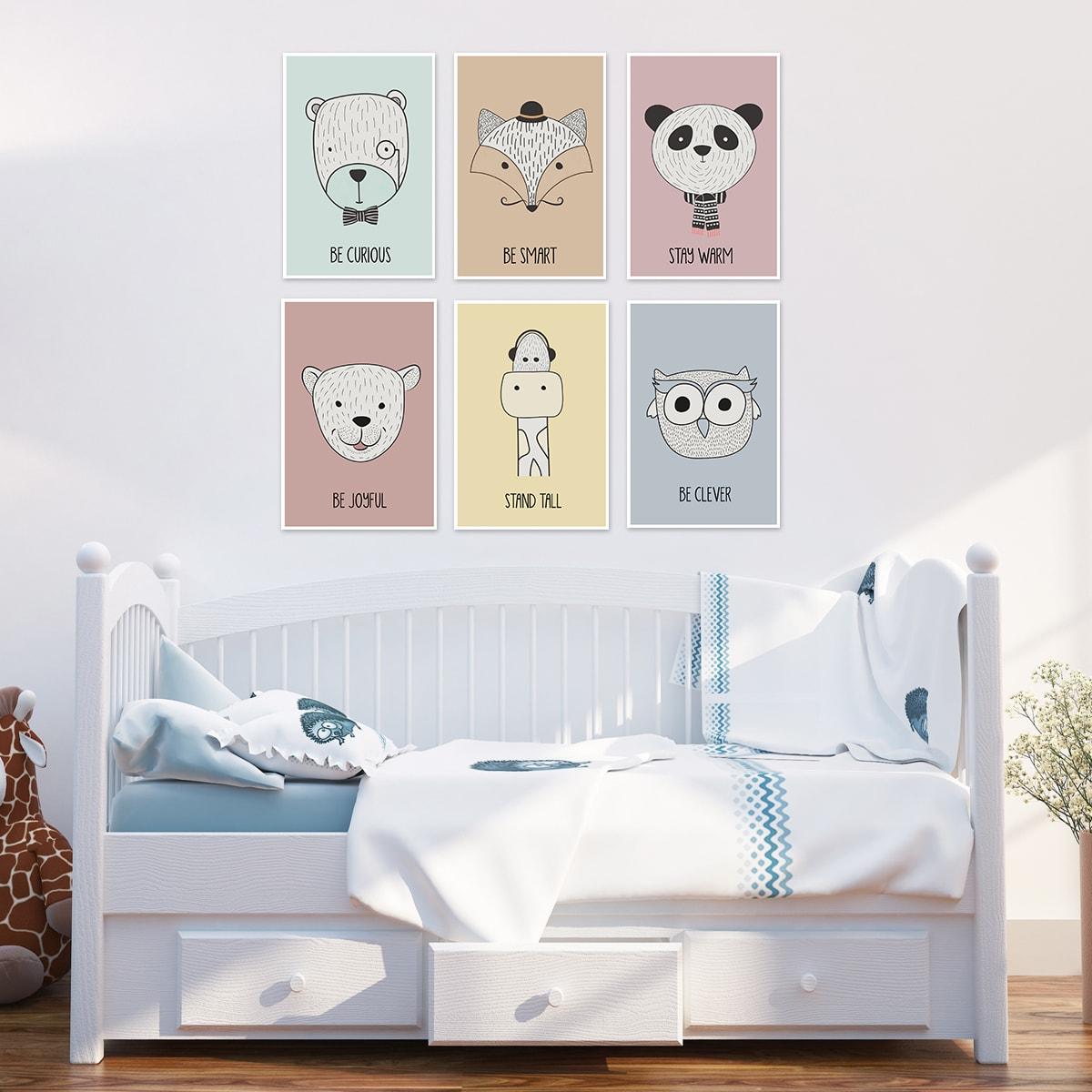 סט תמונות לחדר ילדים חיות רקע ציבעוני
