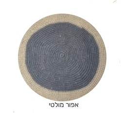שטיח עגול דגם ניתאי אפור עם מסגרת אופוויט