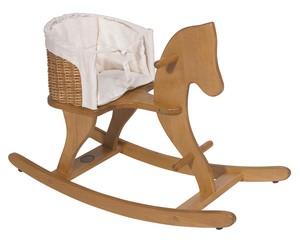 סוס נדנדה מעץ עם מושב קש