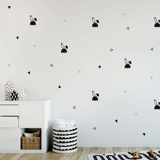 מדבקות קיר לחדרי ילדים דגם ארנבים