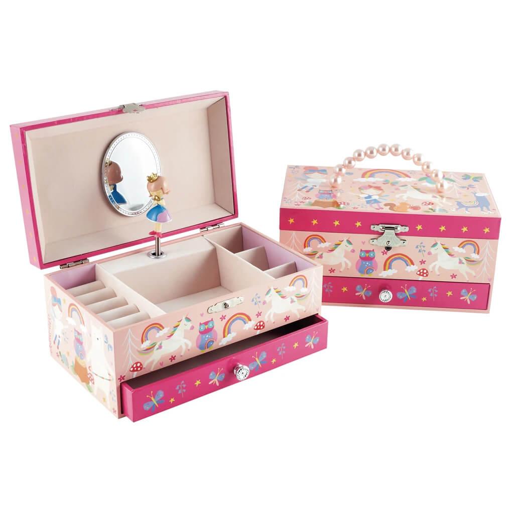 קופסת תכשיטים לילדה חד קרן רקע ורוד