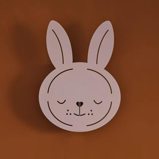 מנורת לילה צמודת קיר ארנב ורוד