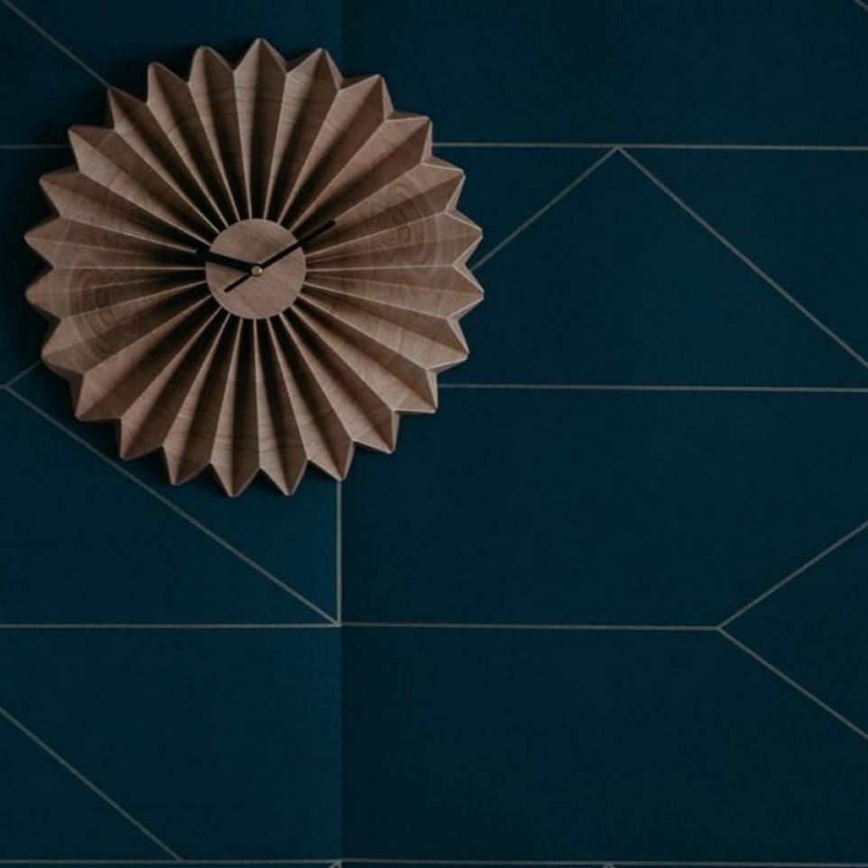 שעון קיר אוריגמי גוון עץ